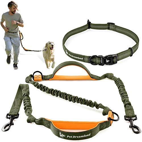 Pet Dreamland Freihändige Hundeleine zum Laufen, mittlere bis große Hunde, Taillen-Hundeleine, professionell, stoßdämpfendes Bungee-Geschirr, reflektierender Hunde-Laufgürtel
