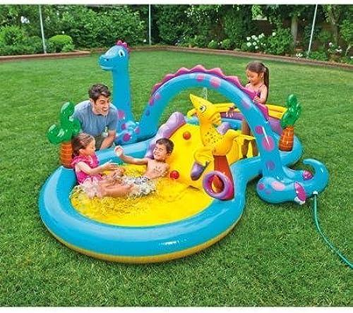 Intex Dinoland Play Center Swimming Pool 4 Games in 1 20.43 X 5.43 X 8.21 by Intex Dinoland