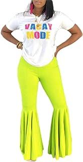 Womens Pants Prom Trousers Elastic Waist Ruffle Bell Bottom Pants