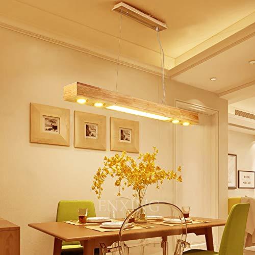 LED Pendelleuchte Aus Holz Hängelleuchte Esstisch Pendellampe Höhenverstellbar Hängellampe Mit Einbauspots Für Küche Kronleuchter Wohnzimmer Büro Cafe Arbeitszimmer 3000K Warmweiss Licht