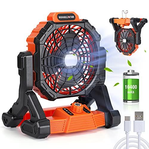 Portable Fan Rechargeable with LED Lantern, 10400mAh 11 inch Battery Operated Fan Personal USB Fan, Outdoor Camping Fan Tent Fan Desk fan...