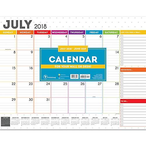 TF Publishing 19-8018A July 2018 - June 2019 Rainbow Dots Desk Pad Calendar, 22 x 17