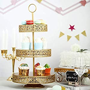 """Tableclothsfactory 23"""" Tall Gold 3-Tier Metal Reversible Dessert Cupcake Stand for Wedding Decoration Event"""