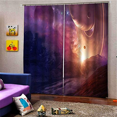 3D-Verdunkelungsvorhängedigitaldruck Öse Vertikale Vorhänge, Kunst Komet Druck Einfache Stilvolle Perforierte Atmungsaktive Isolierung Vorhänge, Für Wohnzimmer Schlafzimmer Kinderzimmer Schloss