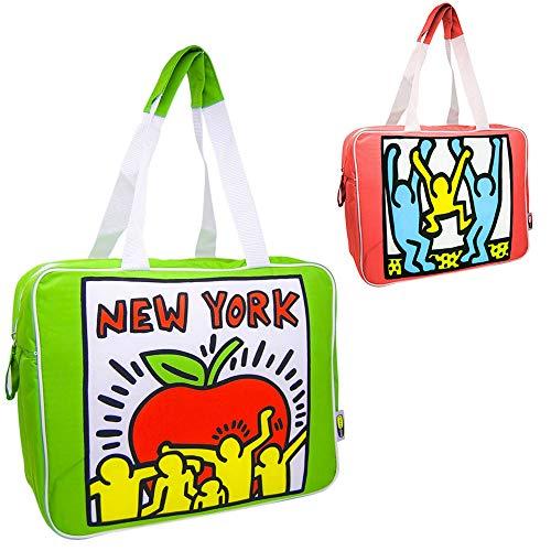 Borsa Termica Frigo capacità 23 Litri in Tessuto Impermebaile Verde con Disegno Multicolore Keith Haring Manicic e Chiusura Cerniera Gio Style Dimensione 38 x 16 x 30 cm