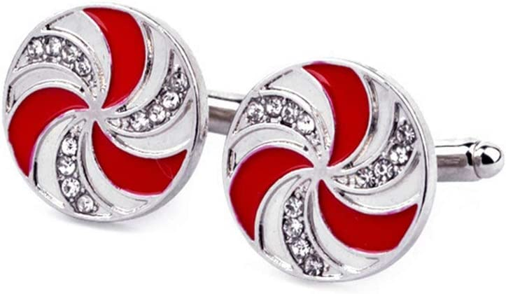 PULABO 1 Pair Men's Cufflinks Set Red Fan Shirt Button Clip Studs Business Cuff Links Men Jewelry Gift Present Durable Useful