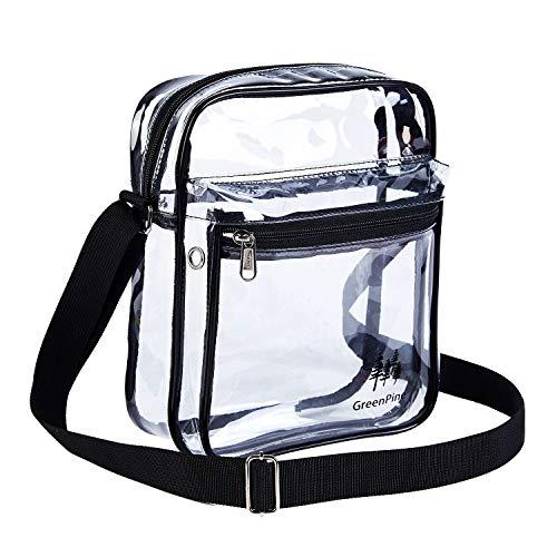 Clear Messenger Bag for Work & Business Travel for Men & Women,NFL Stadium Approved - Transparent Cross-Body Shoulder Bag for Security & Sporting Event (A-Medium)