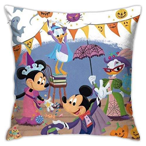 DJNGN Minnie and Donald Duck Halloween Party Throw Pillow Covers 18'X 18'Inch Square Shape Decorative Cushion Cover for Couch Sofa Pillow Set