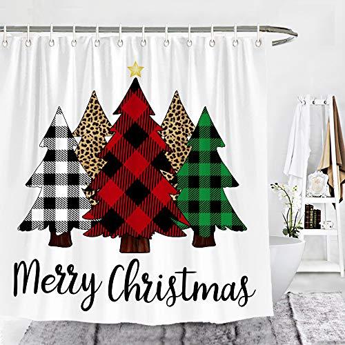 Wencal Buffalo Check Plaid Merry Christmas Trees Shower Curtain Leopard Farmhouse Bathroom Decor 72 x 72 Inches