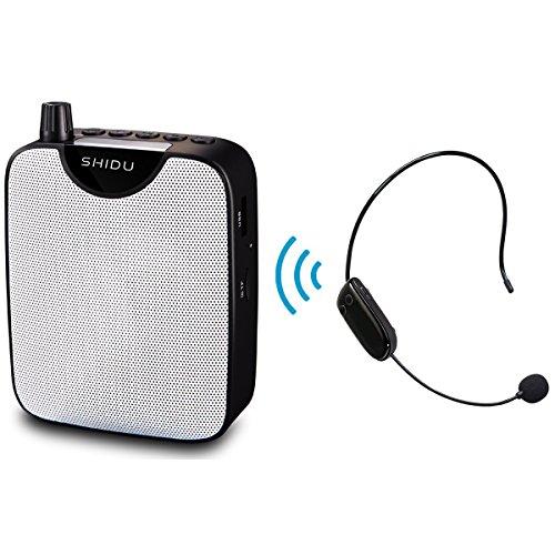 SHIDU UHF Amplificador de Voz con Clip Portatil inalambrico microfonos para Profesores, Entrenadores, Lider, presentaciones, Disfraces, etc.