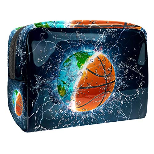 Bolsa de maquillaje de PVC con cremallera, bolsa de cosméticos impermeable con mapa de baloncesto de agua, para mujeres y niñas