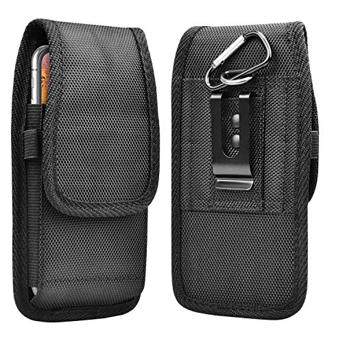 Takfox Phone Holster for iPhone 12 Pro Max, Samsung Galaxy S20 Plus S10+ S9 S8 S7 Note 20 10 9 8 A01 A11 A21 A51 A71,Stylo 6, G Power/Stylus/Fast Nylon Belt Clip Holster Pouch w Card Holder-Black