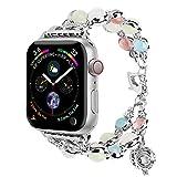 Light Compatibile con Cinturino Apple Watch 42mm 44mm, Cinturino di Ricambio per Belle Donne Ragazza per iWatch Series 6 5 4 3 2 1 SE(Silver,42mm/44mm(8.4-10in))