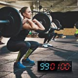 TELAM Portable Fitness Timer Magnetic IntervalTimer with Bluetooth APP Control Mini Shape Big Font Wall Gym Timer 11 Timing Modes Designed for All Sports Training Skill Levels (Blue & Red)