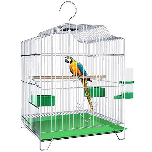 Reizende vogelkooi, draagbaar hangijzer anti-roest vogel baars vogelhuisje met dienblad en voerbak voor grasparkietlijster duiven