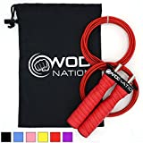 WOD Nation Attack Speed Jump Rope - Adjustable Jumping Ropes - Unique 2 Cable Skipping Workout...