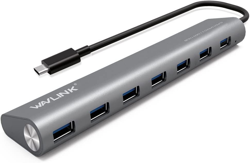 WAVLINK 7 Ports USB Type C Hub Aluminum Design with 5V/4A Supply Adapter Multi-Function USB Dock Hot Swapping Support for Mac Ultra-Slim Desktop- Gray
