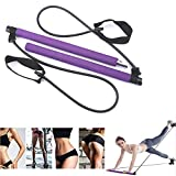 ZS-Juyi Exercise Resistance Band Yoga Pilates Bar Kit Portable Pilates Stick Muscle Toning Bar Home Gym Pilates with Foot Loop for Total Body Workout Enhance Immunity Suitable for Women (Purple&Black)