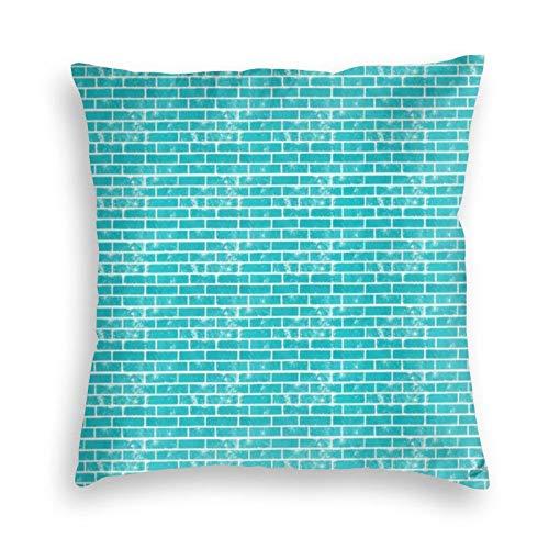 Funda de cojín cuadrada de terciopelo con diseño de ladrillos de color verde azulado para sofá, cama, dormitorio, sofá, 45,7 x 45,7 cm