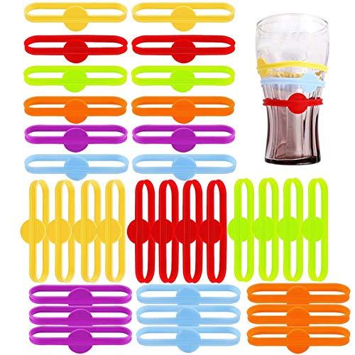 Dequate Glasmarker - Glasmarkierer Silikon, Wiederverwendbare Markierungen Für Weingläser | Glasmarkierung Party | Weinglaser Getränke Getränkemarker Für Bar Party Tischdekorationen - 6/12/24 / 36pcs