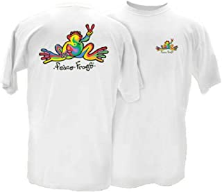 Peace Frogs Retro Frog Adult Short Sleeve T-Shirt - Great Lightweight Cotton T-Shirt