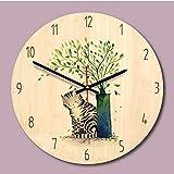 TTbaoz Vintage bellamente preciso Dormitorio Oficina decoración del hogar Redondo Reloj de Pared de Madera Puntero Mudo Estilo Minimalista decoración 12 Pulgadas