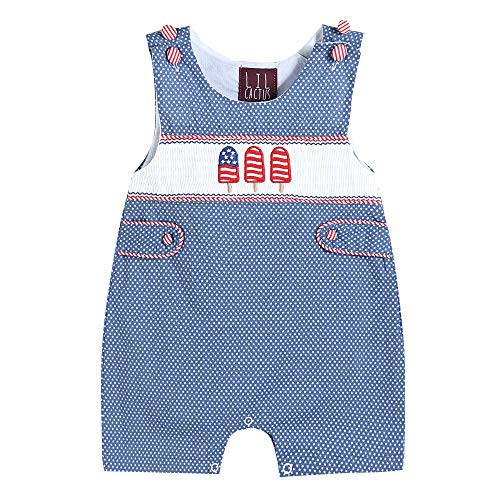 Lil Cactus Baby & Toddler Boys Embroidered One-Piece Shortall Romper, Blue Popsicles, 3-6 Months