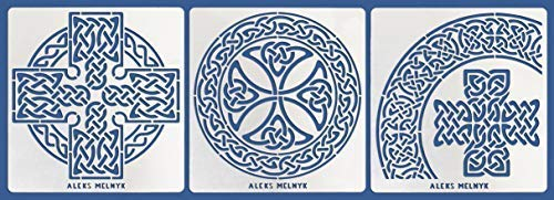 Aleks Melnyk #38 Metal Journal Stencils/Celtic Knot, Cross/Stainless Steel Irish Stencils Kit 3 PCS/Templates Tool for Wood Burning, Pyrography and Engraving/Scandinavian, Viking Symbols/Crafting/DIY