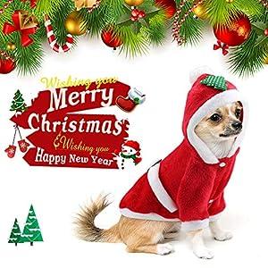 Idefair Santa de Noël pour Chien?; Cat Vêtements d'hiver Chiot Sweat à Capuche Manteau Chaud Veste pour Small Medium Large Dog Cat Kitty Chihuahua Yorkshire S/M/L/XL/XXL
