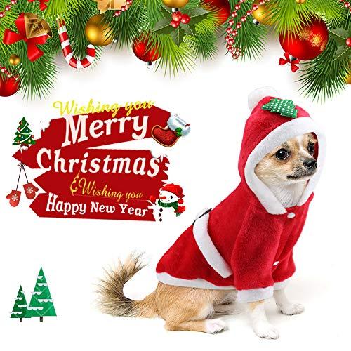 Idefair Santa Navidad perro custome gato ropa invierno cachorro sudadera con capucha abrigo abrigo para perro pequeño mediano grande gato gato gato chihuahua Yorkshire S M L XL XXL