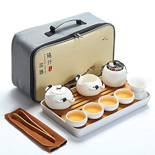 fanquare Portátil Juego de Té Kung Fu, Juego de Té Chino Hecho a Mano, Tetera de Porcelana, Tazas de té, Bandeja de Té de bambú, con Una Bolsa de Té de Viaje, Blanco