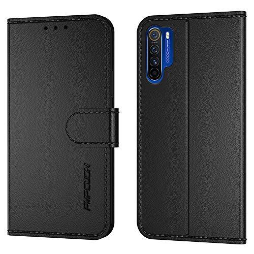 FMPCUON Handyhülle Kompatibel mit Oppo Realme X50 Pro(Neueste),Premium Leder Flip Schutzhülle Tasche Hülle Brieftasche Etui Hülle für Oppo Realme X50 Pro(6,5 Zoll),Schwarz