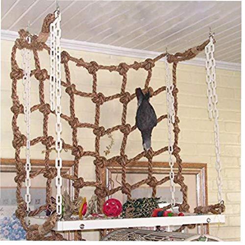 Case Cover Kletternetz für Papageien Tiere Vogelkäfig Spielzeug-Spiel-Seil hängend mit Schnallen Swing-Ladder Sittich Wellensittich Spielen Gym Spielzeug