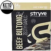 Stryve Keto Protein Snacks - Healthy Beef Biltong Jerky   High Protein, Low Carb, Sugar Free, Paleo Friendly   Zesty Garlic, 4oz