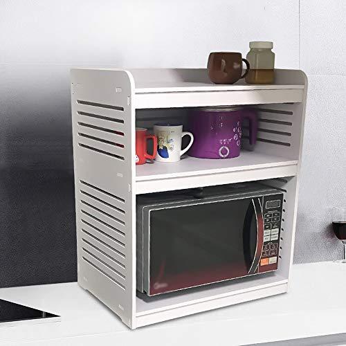 Rejilla para Microondas para Restaurante Microondas anaquel de soporte de plástico soporte de madera Placa de cocina Estante de escritorio Arrocera Estante de almacenamiento Diseño Estable ⭐