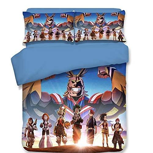 My Hero Academia - Juego de cama de 3 piezas, juego de cama de anime para niñas y niños, adolescentes, funda de edredón con dibujos animados (8.Individual: 135 x 200 cm+(80 x 80 cm)
