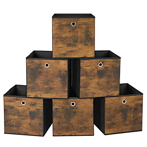 SONGMICS Cajas Organizadoras de Almacenamiento, Cajas Plegables Abiertas, Juego de 6 Organizador para Ropa, Juguetes, 30 x 30 x 30 cm, Tela no Tejida, Tela Oxford, Marrón Rústico y Negro RFB102B01