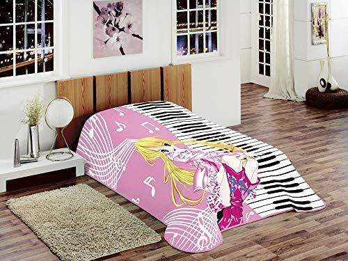Teppich-Traum Decke Kinderdecke Spieldecke Kuscheldecke Wohndecke Prinzessin mit Piano Design Rosa Pink Gelb Weiß Bunt Größe 155x215 cm