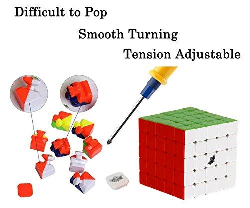 Roxenda 63.5mm Speed Cube Stickerless Magic Cube 5x5x5 Puzzles Colorful