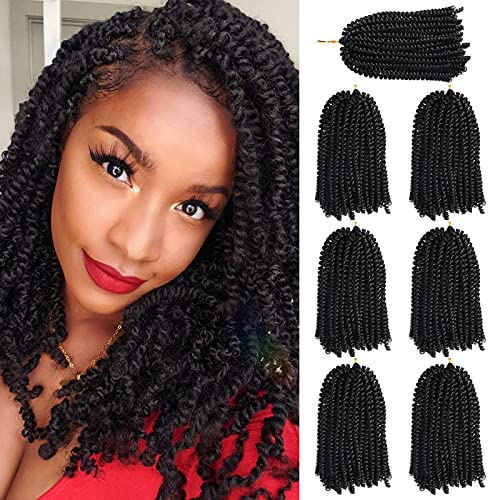 7 Packs Spring Twist Hair 8 Inch FluffySpring Twist Crochet Braiding Hair Bomb Twist Spring Crochet Hairfor Black WomenHair Extensions 15 Strands 55g/Pack(8 inch, 1B)
