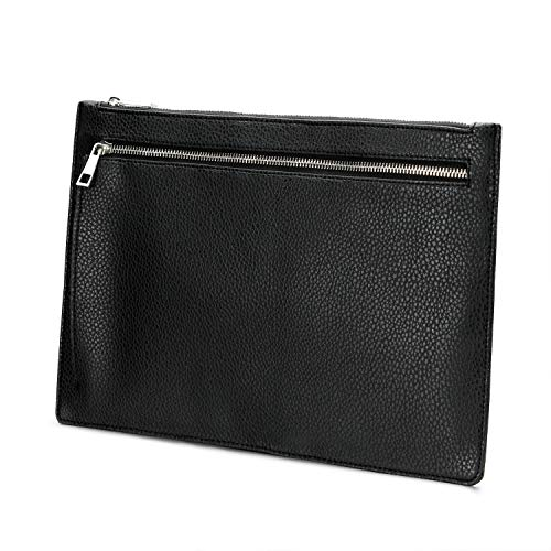 DOMISO Mens A4 Underarm Clutch Bags Portfolio File Case Business Paper Carry Bag Travel Portfolios Waterproof Document Holder Conference Folder ipad Tablet Case Sleeve,Black