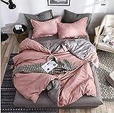 SHJIA Superfeinfaser Bettwäsche Set Bettlaken Bettbezug Kissenbezug Kombination Bettbezug Bettwäsche rosa 220x240cm