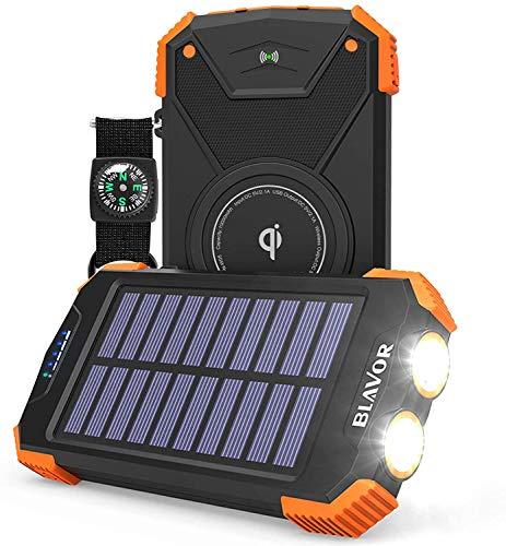 Banco de energía solar, cargador portátil Qi de 10.000 mAh batería externa tipo C puerto de entrada doble linterna, brújula, panel solar de carga (naranja)