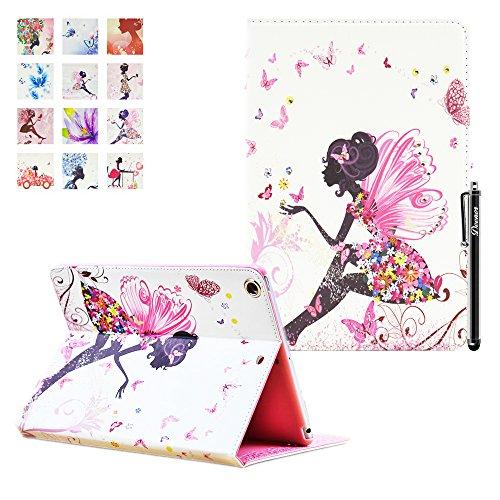 Custodia per iPad Mini3, Deenor Big butterfly girl Design Flip Custodia PU Pelle Stand Custodia Cover per Apple iPad Mini 1/2/3 Generation. (Big butterfly girl)