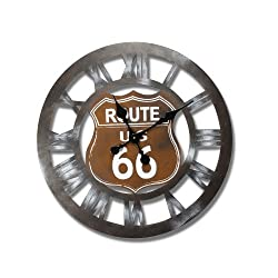 Adeco Vintage-Inspired, Retro Round Wall Hanging Clock US Route 66 Home Decor, Brown, Dark, Black