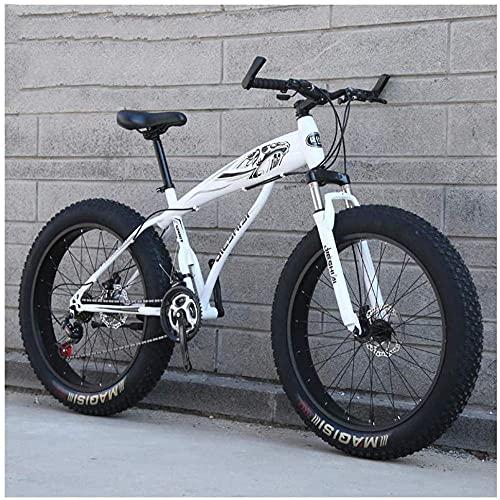 N&I Fat Tire Hardtail Mountain Bikes con sospensione anteriore per adulti e donne, 4 ampie tiri anti-slittamento, mountain bike high-con, in acciaio, Dual Disc Bike