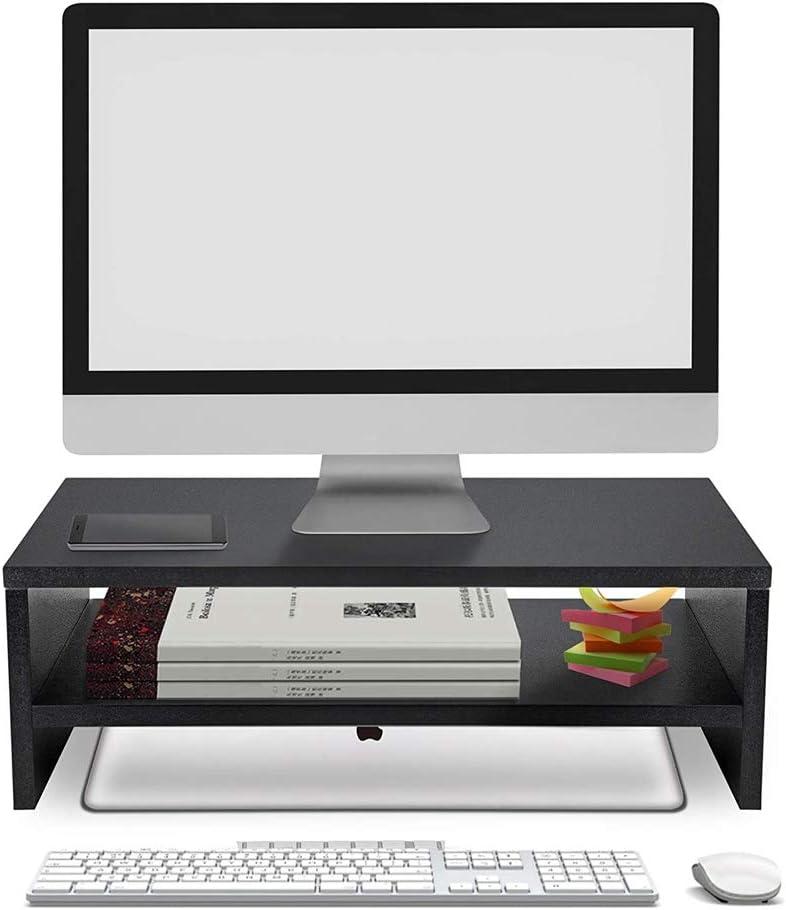 Slideep Wood Monitor Stand Riser 16.5'' 2 Tiers Desktop Stand, Desk Storage Organizer TV Shelf Stand for Laptop, Computer, Notebook, iMac, PC
