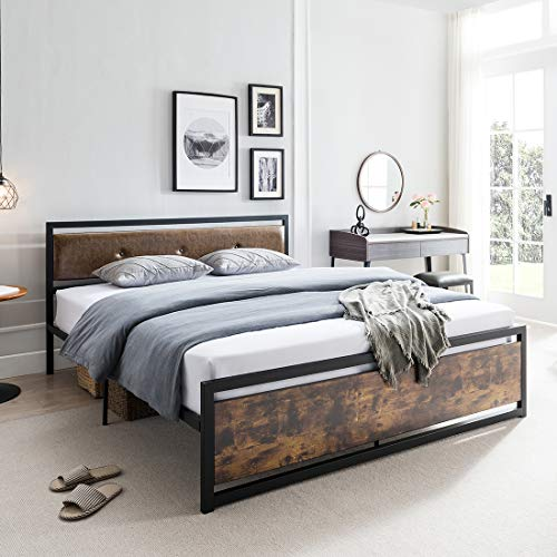 Smile Back Industrial Full Bed Frame with Headboard and Footboard, Platform Bed Frame Full Size, Heavy Duty, Steel Slat Support, Easy Assembly, No Box Spring Needed, Underbed Storage Space, Black