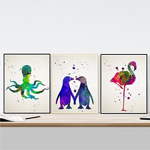 Pack de 3 láminas para enmarcar de Animales. Posters en tamaño A3. Decoración del hogar con imágenes de Animales. Papel 250 Gramos Imágenes de Animales en Acuarela para enmarcar
