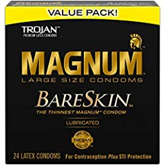 One 24 count box of TROJAN MAGNUM BARESKIN Large Size Condoms The Gold Standard - Thinnest MAGNUM condom from TROJAN for heightened sensitivity and comfort MAGNUM condoms are larger than the standard condom with a wider, contoured shape and a special...